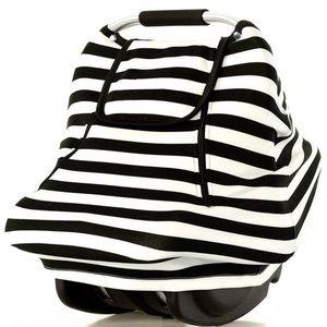 Infant Car Seat Cover Canopy Black & White Stripe